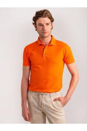Dufy Erkek Turuncu Düz Merserize Pike Kumaş Polo Yaka T-shirt