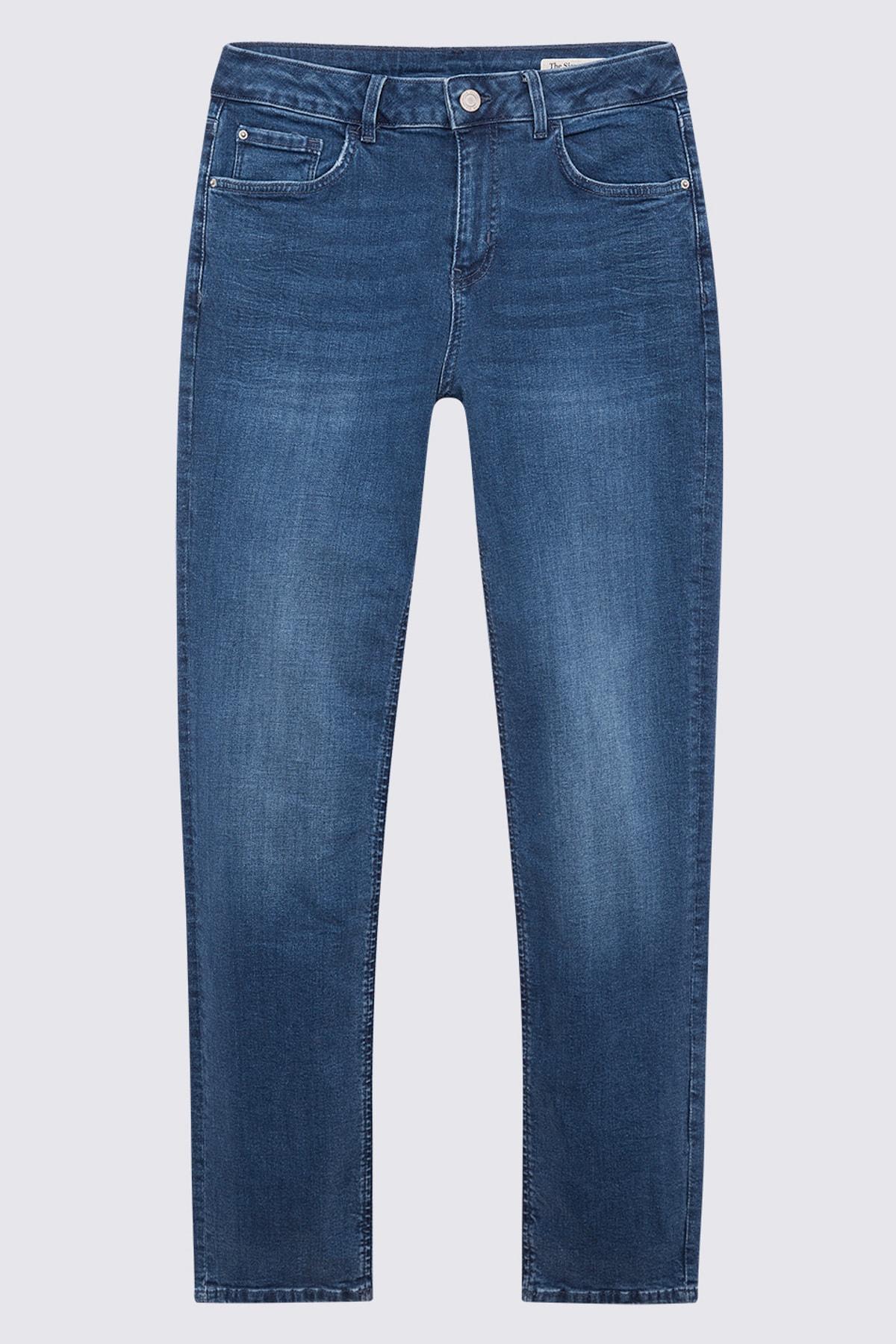 Marks & Spencer Kadın Mavi Straight Fit Pantolon T57007570H 1