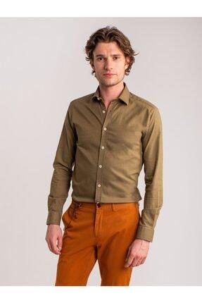 Dufy Erkek Haki Düz Pamuklu Nefes Alabilen Slım Fit Gömlek