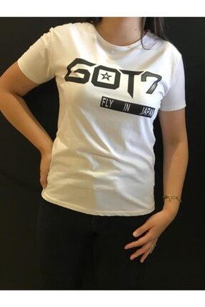 Panda Kadın Beyaz Got7 Baskılı T-shirt