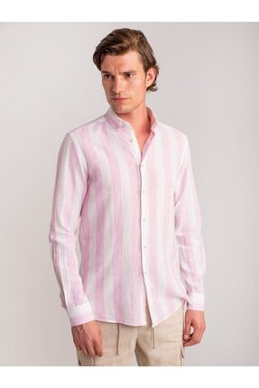 Dufy Erkek Pembe Çizgili Keten Nefes Alabilen  Gömlek - Slım Fıt