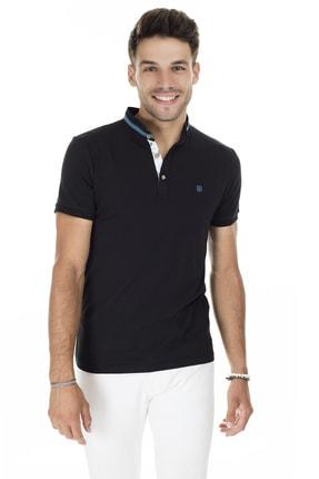 Buratti Erkek Siyah Yakası Renkli Şeritli Düğmeli Hakim Yaka Pamuklu Basic T Shirt 4362081