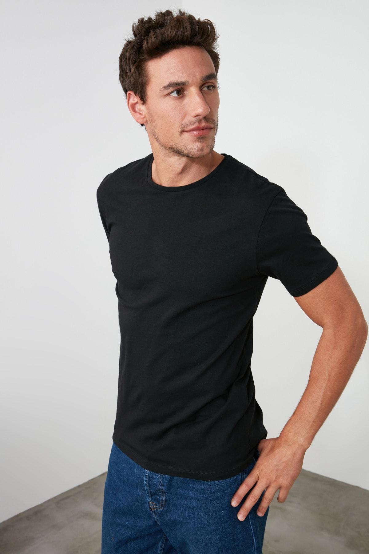TRENDYOL MAN Çok Renkli Erkek Basic Slim Fit T-Shirt - 3'lü Çok Renkli Paket TMNSS19BO0007 2