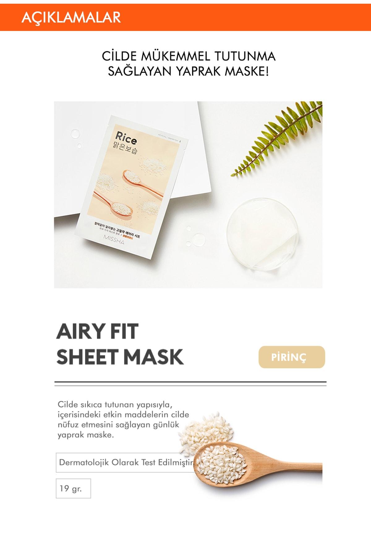 Missha İnci Özlü Aydınlatıcı Yaprak Maske Airy Fit Sheet Mask (Rice) 8809581454804 2