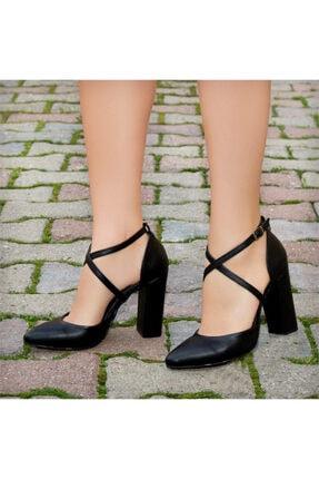 sothe shoes Kadın Siyah Hakiki Deri Kalın Topuklu Kadın Ayakkabı