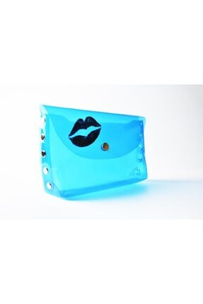 Mi Sueno Mavi Kadın Dudak Baskılı Şeffaf Makyaj Çantası / Kalemlik (büyük Boy) Boyut 20 X 12 X 6