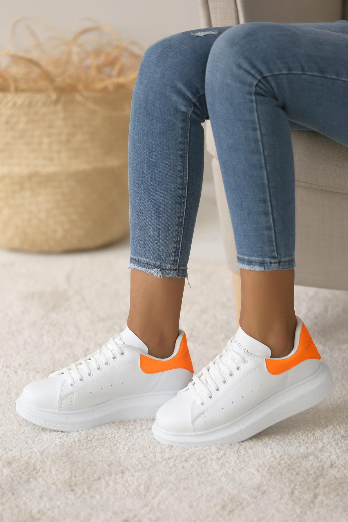 Pembe Potin Kadın Beyaz Turuncu Ayakkabı 1