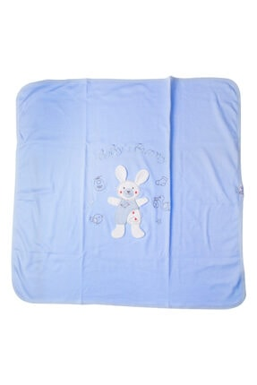 Albimini Mavi Akyüz Bebe Tavşan Baskılı 90 X 80 cm Penye Battaniye
