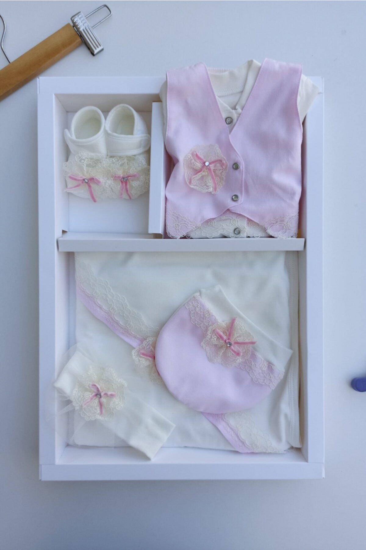Eda Baby Kız Bebek Pembe 5'li Set Hastane Çıkışları 1