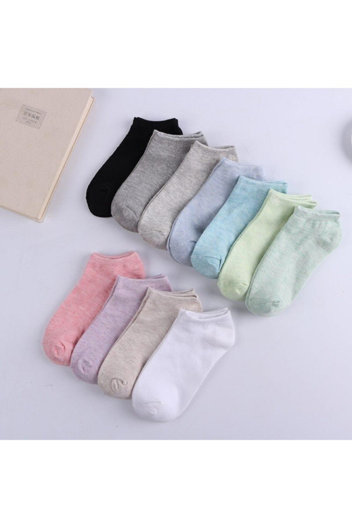 çorapmanya 10 Çift Koton Ekonomik Karışık Renk Kadın Patik Çorap 1