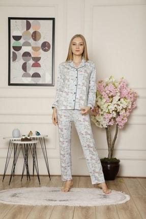 ALİMER Kadın Mavi Çiçekli Pamuklu Yakalı Önden Düğmeli Uzun Kol Pijama Takımı 2530