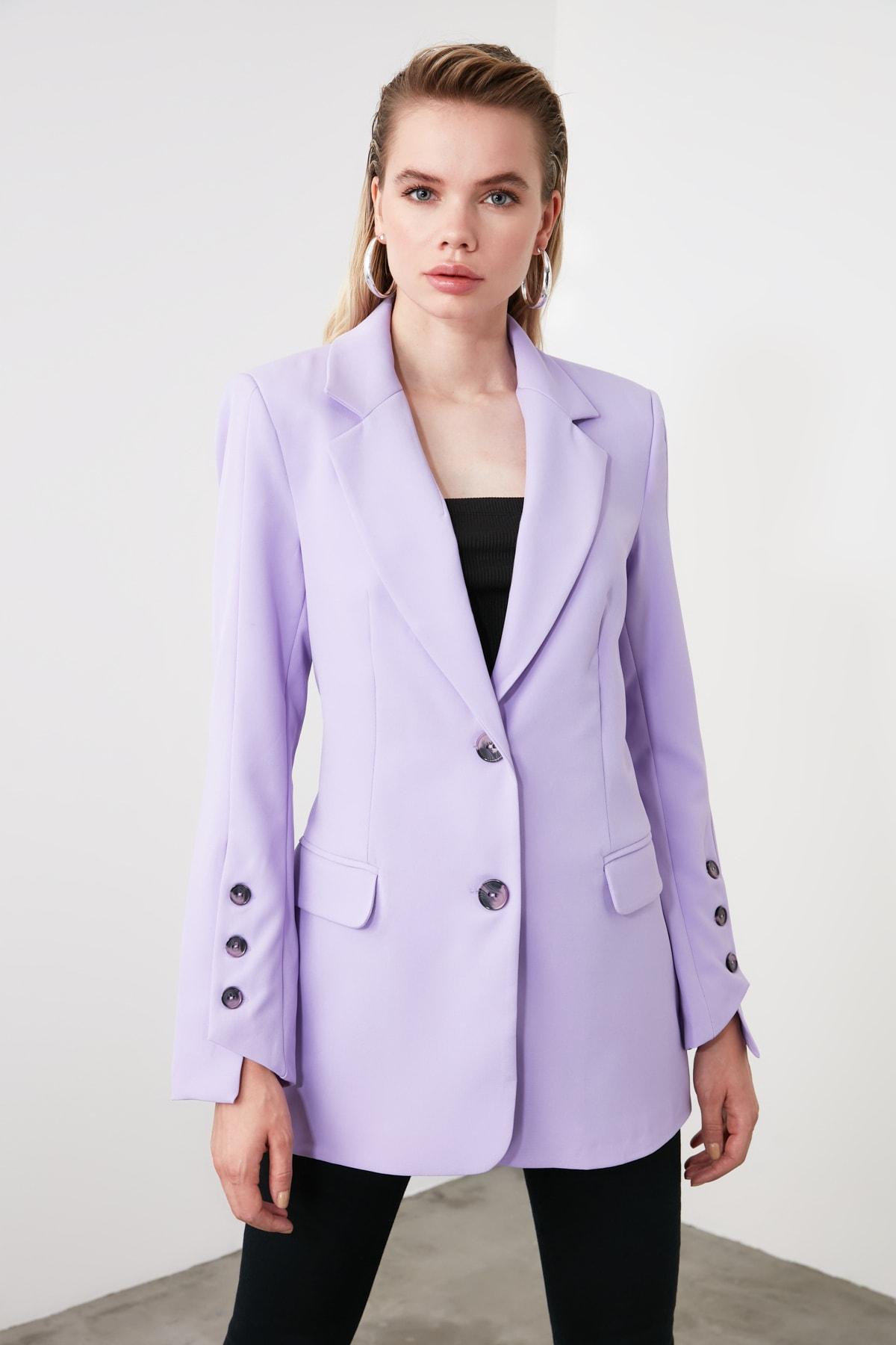 TRENDYOLMİLLA Lila Kol Düğmeli Blazer Ceket TWOSS20CE0023 2