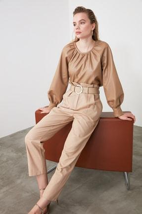 TRENDYOLMİLLA Bej Yüksek Bel Düz Kesim Pantolon TWOSS20PL0016