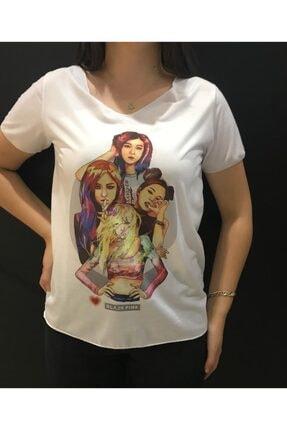 Panda Kadın Beyaz Black Pink Baskılı T-shirt