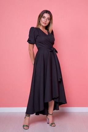 Bidoluelbise Kadın Siyah Asimetrik Kesim Elbise
