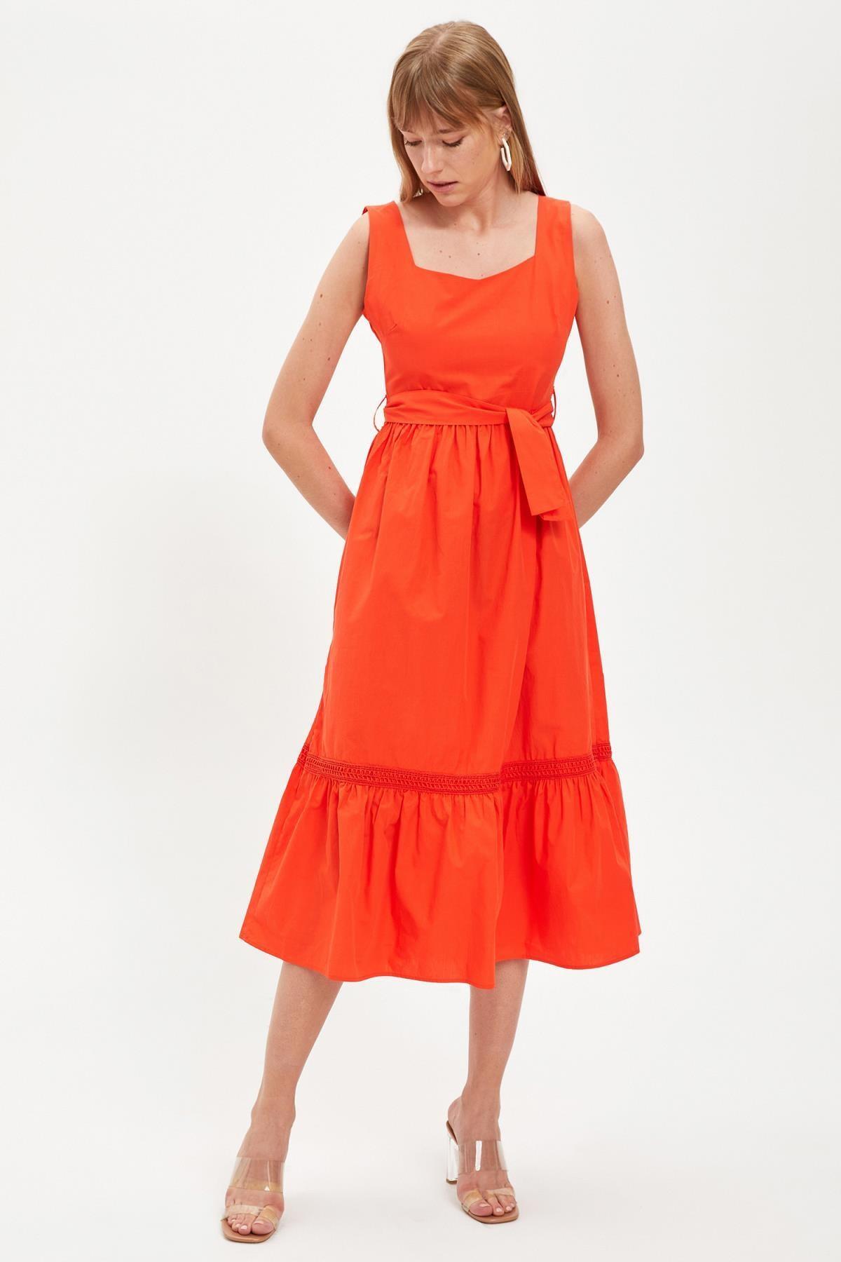 DeFacto Kadın Red Kısa Kollu Regular Fit Pamuklu Elbise S8461AZ20HS