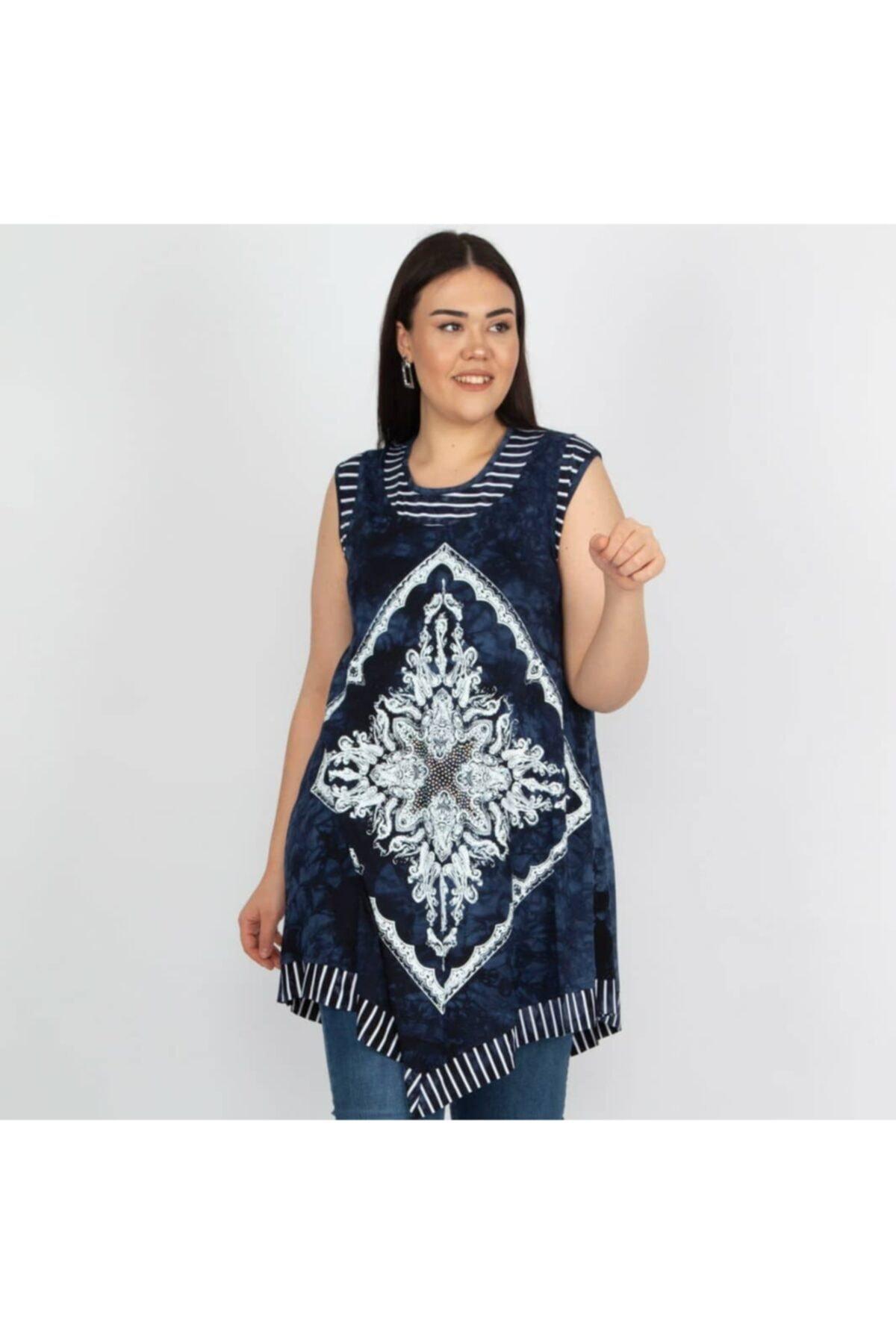 TREND KADIN Kadın Mavi Desenli Batik Tunik 2