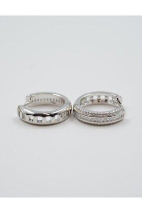 Swaroski Zirkon Taşlı 925 Ayar Gümüş Halka Küpe