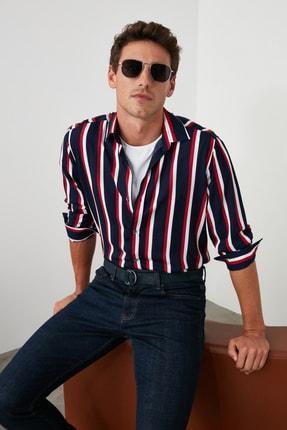 TRENDYOL MAN Lacivert Erkek Çizgili Gömlek Yaka Uzun Kollu Regular Viskon Gömlek TMNAW21GO0366