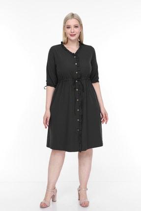 Lir Kadın Büyük Beden Fırfırlı Düğmeli Truvakar Kol Elbise Siyah