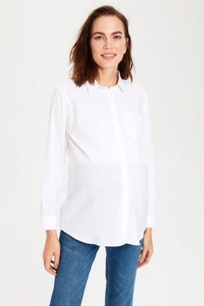 LC Waikiki Hamile Optik Beyaz Gömlek 9WY406Z8