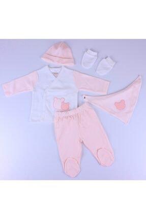 Ciccim Baby Hastane Çıkış Takımı 5'li Ayıcıklı Pembe Kız
