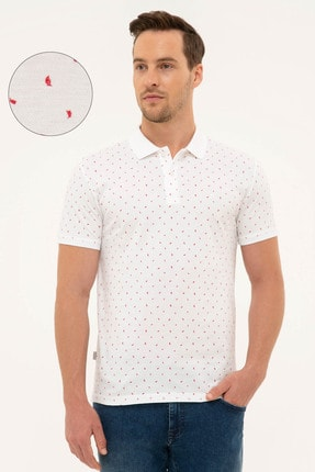 Pierre Cardin Kırmızı Detaylı Beyaz Slim Fit Polo Yaka T-Shirt