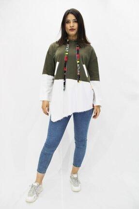 Etnik Esintiler Kadın Haki Tasarım Sweatshirt