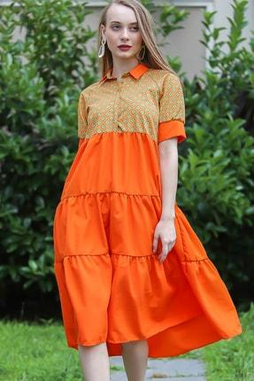 Chiccy Kadın Turuncu Papatya Desenli Patı Düğme Detaylı Gömlek Yakalı Elbise