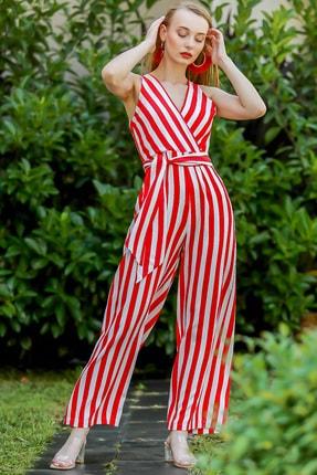 Chiccy Kadın Kırmızı Vintage Kruvaze Çizgili Kuşaklı Dokuma Tulum