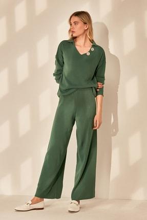 TRENDYOLMİLLA Yeşil 2'li Kazak - Pantolon Triko Alt-Üst Takım TWOAW21AU0018
