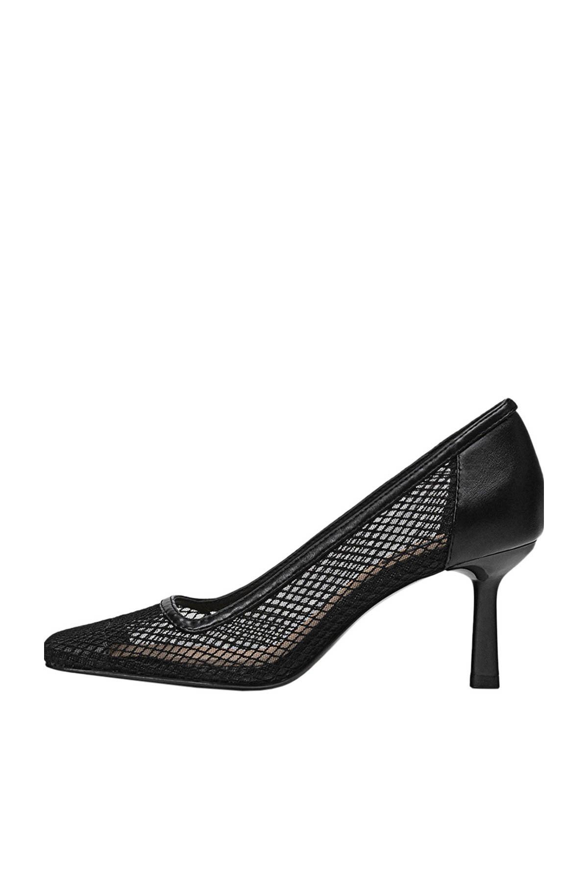 Stradivarius Kadın Siyah Fileli Yüksek Topuklu Ayakkabı 19657670 1