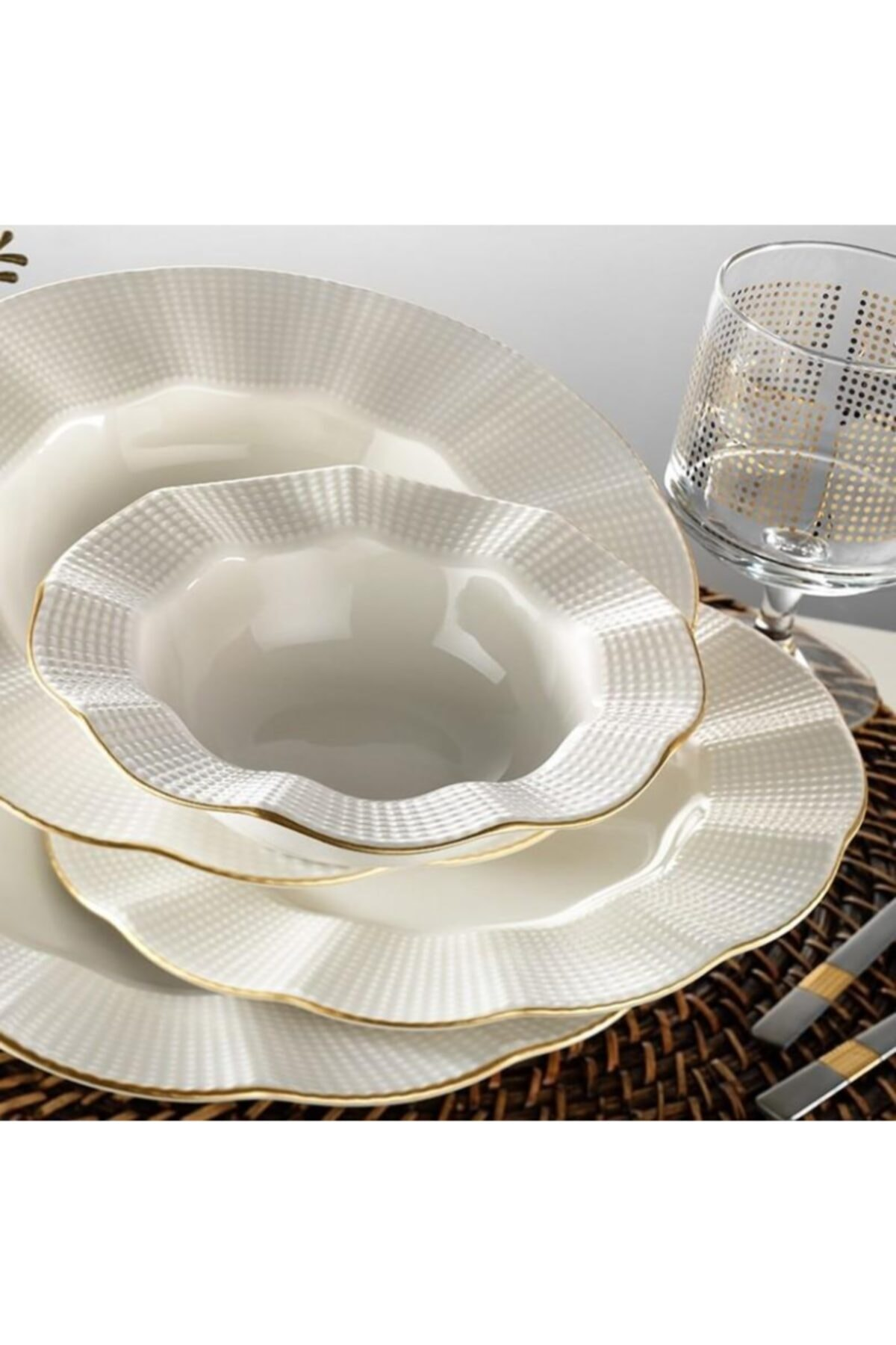 Kütahya Porselen Milena Altın Yaldızlı 24 Parça Yemek Takımı Krem Mln24y214r520 1
