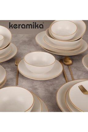 Keramika 24 Parca Mat Beyaz 022 Yemek Takımı