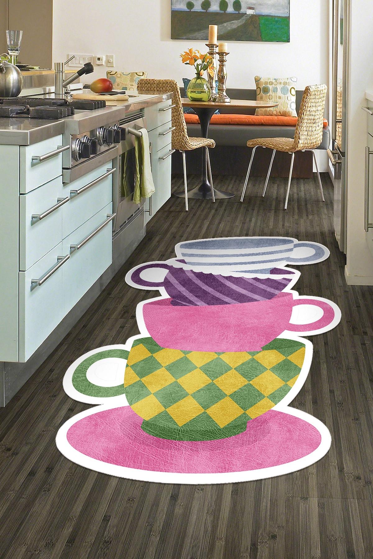 colizon Dekoratif Yıkanabilir Kaymaz Tabanlı Lazer Kesimli Mutfak Halısı 1