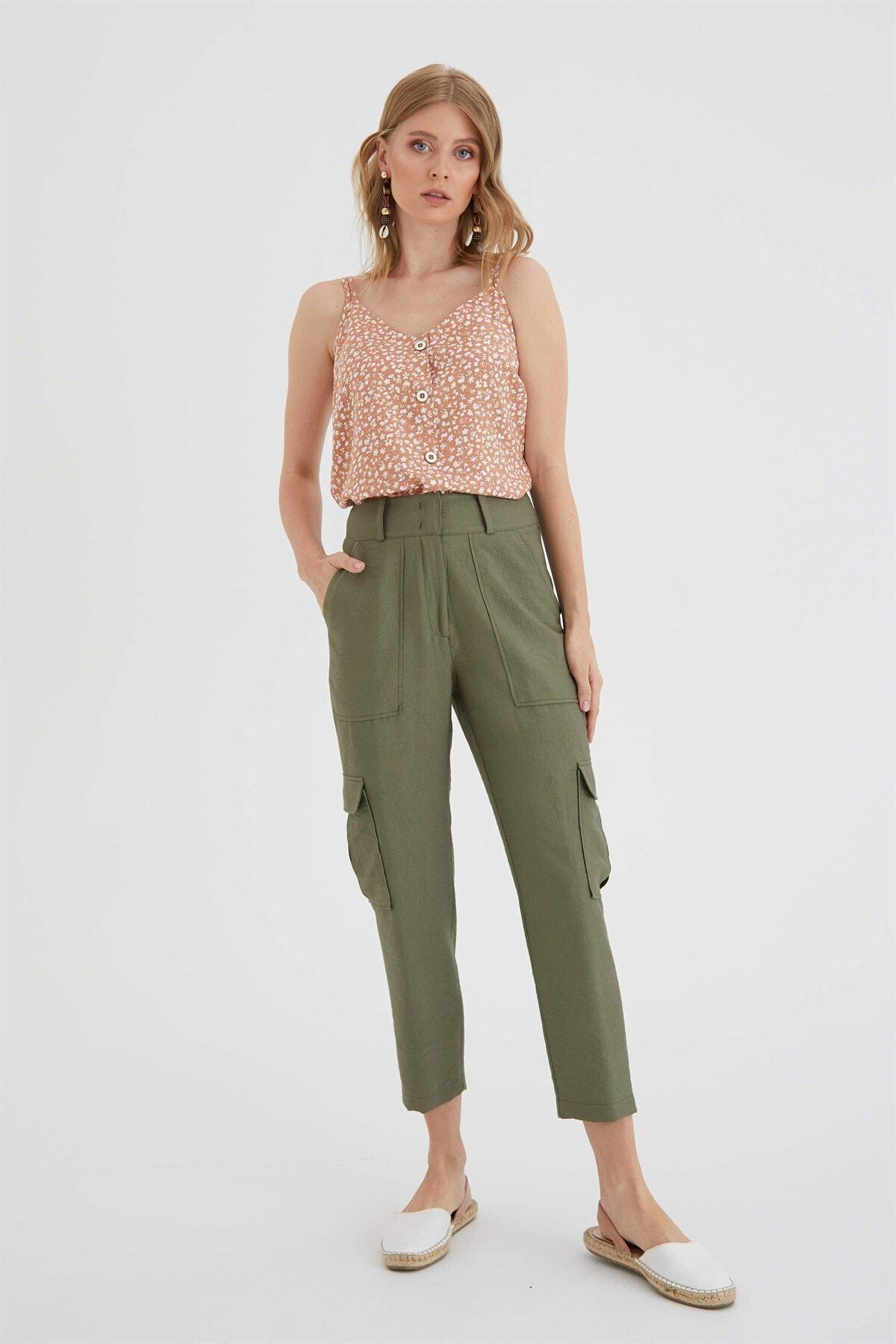 Chima Kadın Haki Kargo Pantolon 1