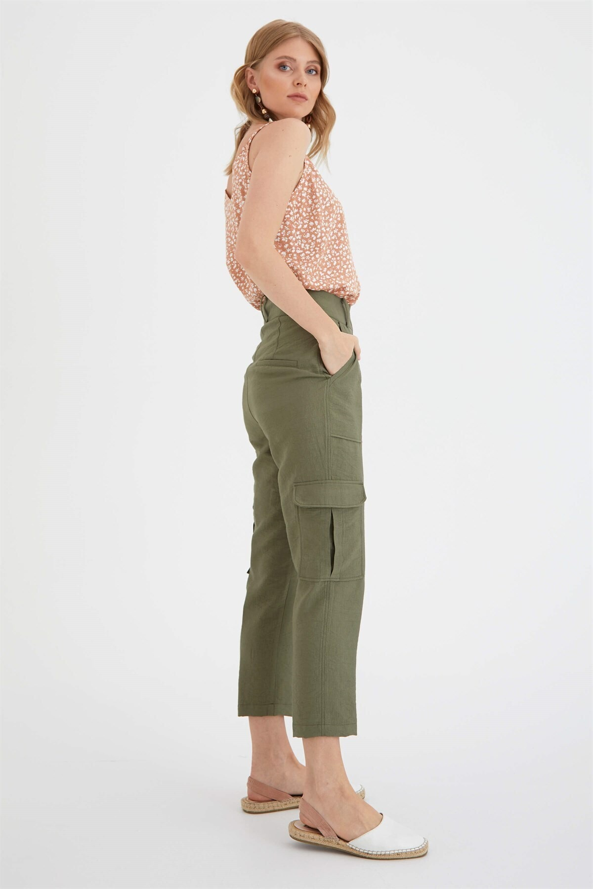 Chima Kadın Haki Kargo Pantolon 2