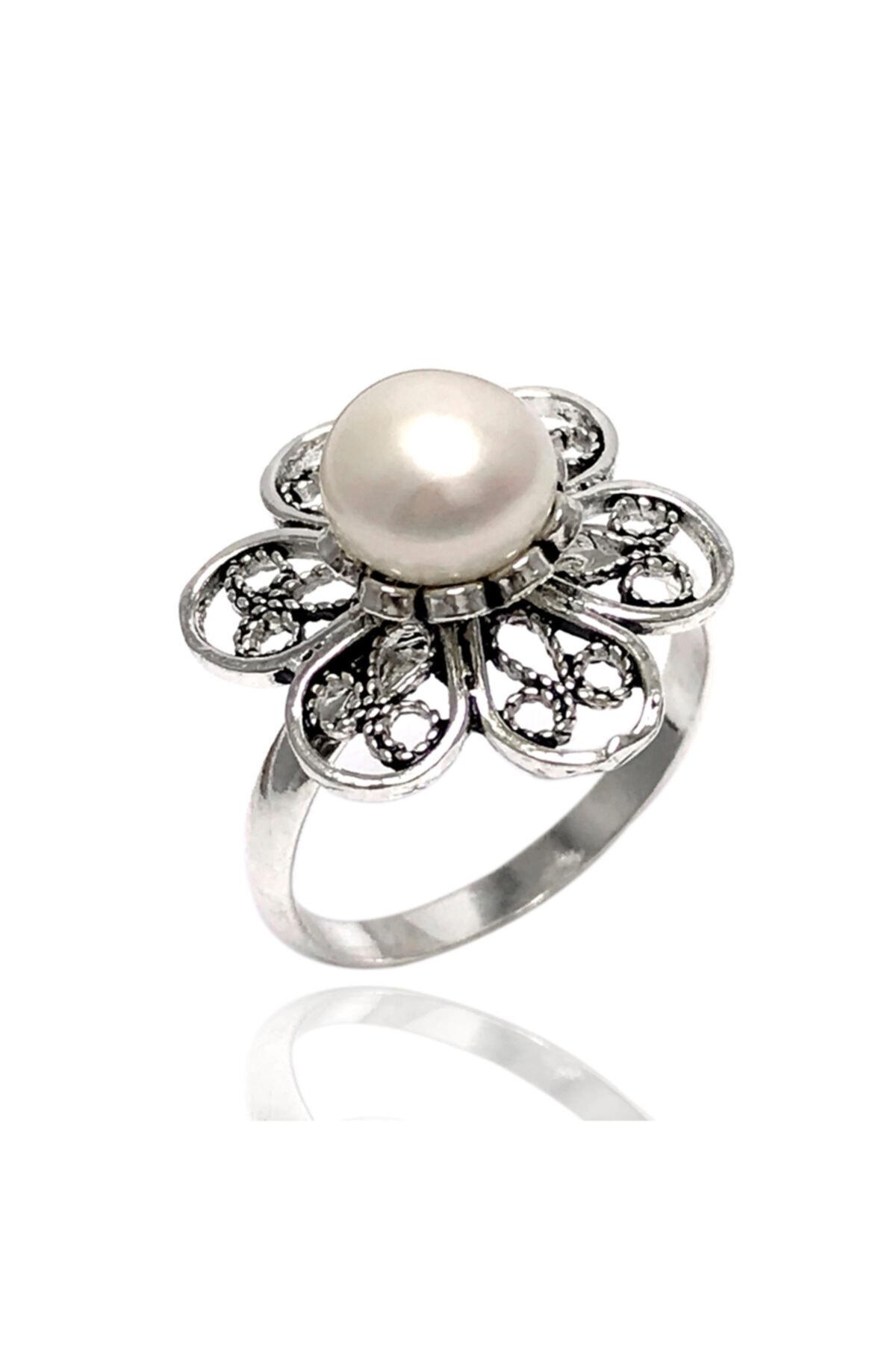 Midyat Gümüş Dünyası Inci Taşlı Telkari Gümüş Bayan Yüzük 1