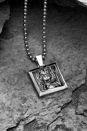ATOLYESTONE Kaplan Kare Kolye ( Sadece Kolye Ucu )