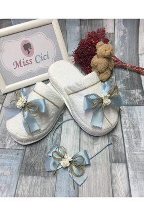 Miss Cici Mavi Naturel Çiçekli Lohusa Tacı ve Lohusa Terliği Seti