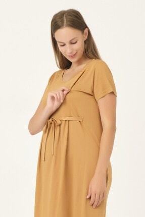 BUSA Kadın Sarı Hamile Önden Bağcıklı Emzirme Detaylı Günlük Elbise