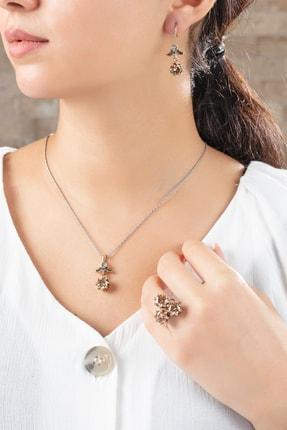 Midyat Gümüş Dünyası Sitrin Taşlı Çiçek Modelli Otantik Gümüş Üçlü Set