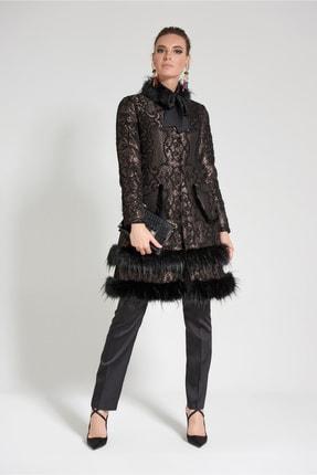 Olcay Kürk Detaylı Dantel Ceket Siyah