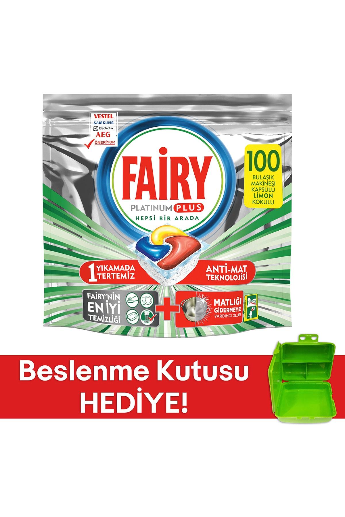 Fairy Platinum Plus 100 Yıkama Bulaşık Makinesi Kapsülü( Beslenme Kutusu Hediye)