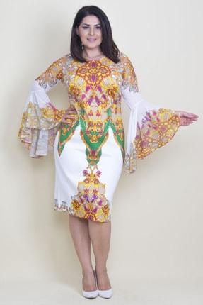 Şans Kadın Renkli Ön Arka Robası Ve Kolları Şifon Volan Detaylı Elbise 65N17593