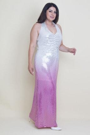 Şans Kadın Renkli Sırt Dekolteli Astarlı Payet Elbise 65N17592