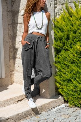 Güneşkızı Kadın Antrasit Yıkamalı Zımbalı Cepli Beli Lastikli Şalvar Pantolon GK-RSD2002
