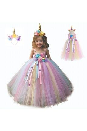 bba new trend Unicorn Uzun Doğumgünü Parti Astarsız Elbise