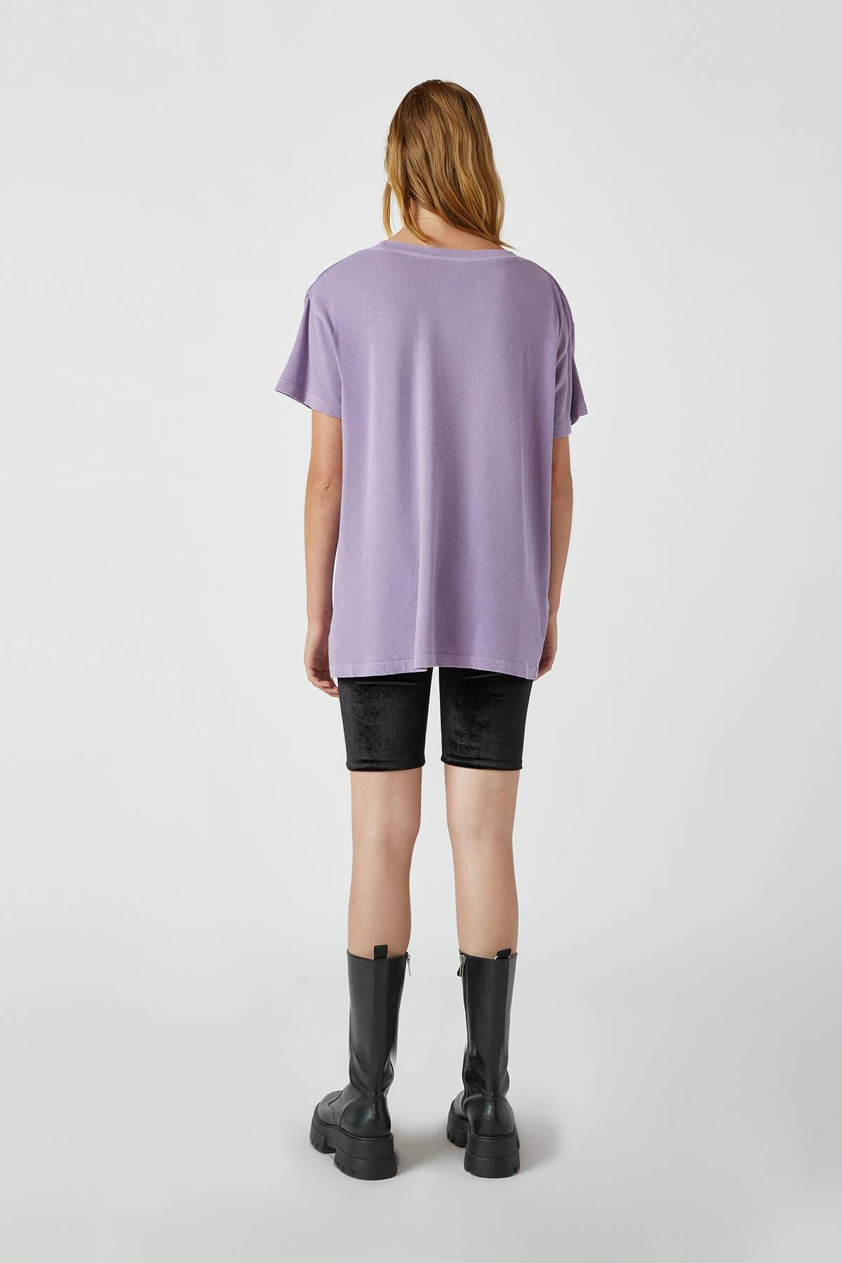 Pull & Bear Kadın Koyu Mor Soluk Efektli Basic Oversize T-Shirt 05236365 2