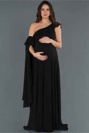 Abiyefon Kadın Siyah Tek Omuz Hamile Abiye Elbise Abu751